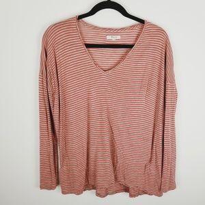 Madewell long sleeve striped v-neck small shirt
